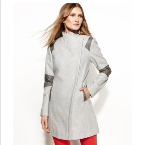 Calvin Klein Jackets u0026 Coats - CalvinKlein Gray Colorblock Faux Leather  Trim Coat